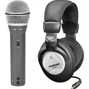Microfono Q2U Kit Samson Dinamico Usb + Auriculares